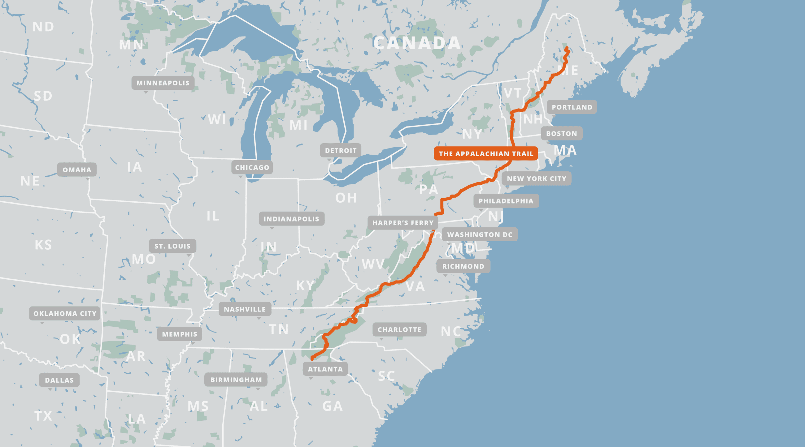 A map of the Appalachian Trail.