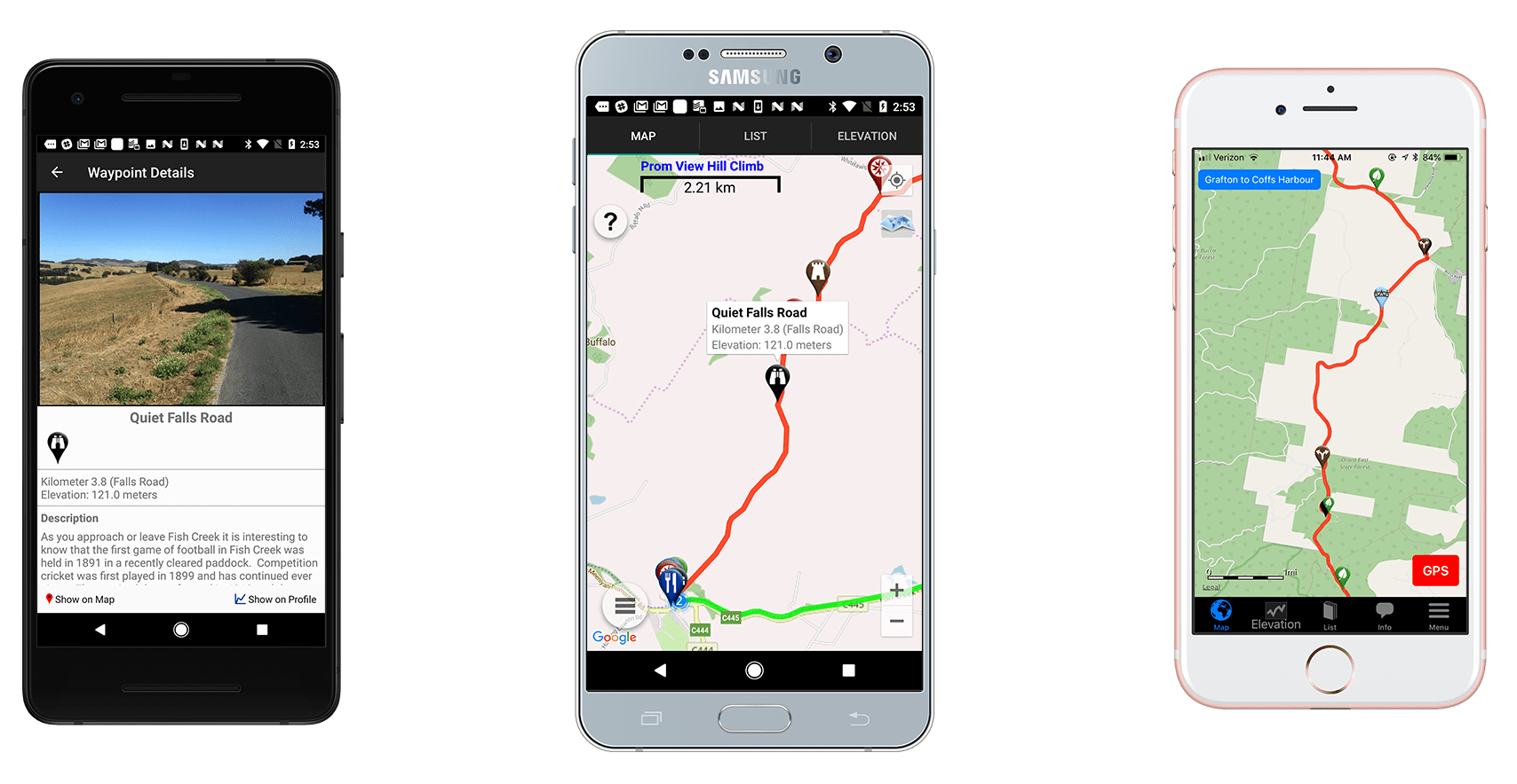 Screenshots of our Cyclewayz app on Android and iOS phones.