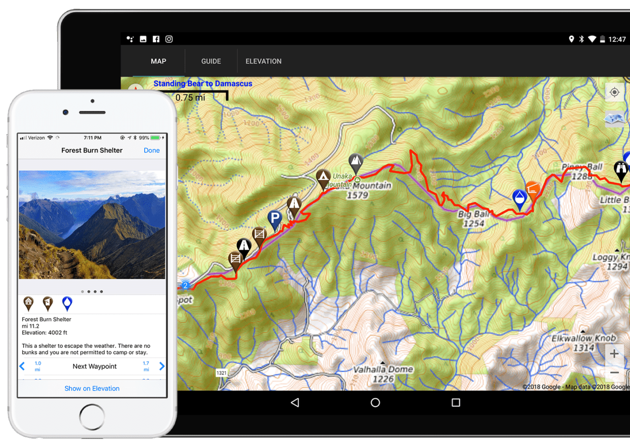 A phone shows a waypoint details about a shelter. A tablet shows a map of the Appalachian Trail with a topo map background.