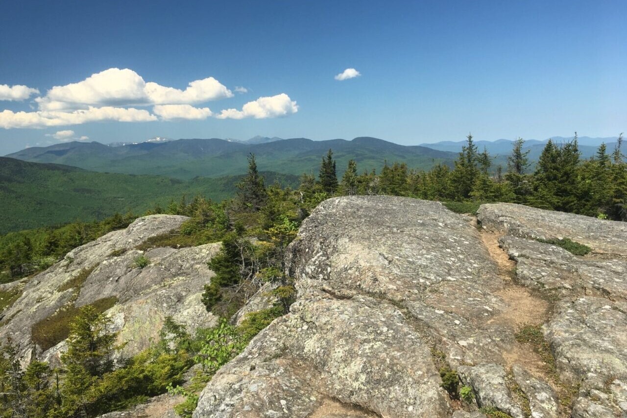 A rocky ridge overlooks a green forest and distant mountains.
