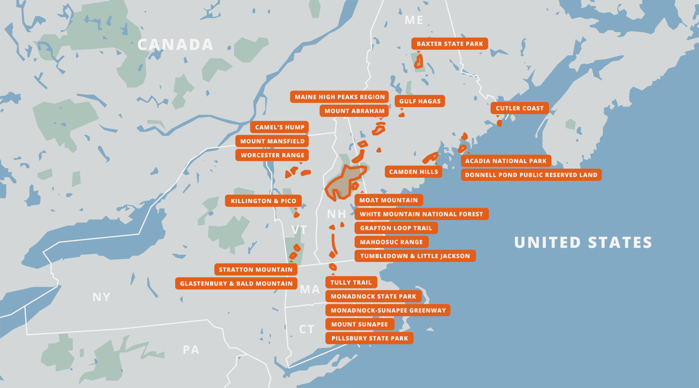A map of all of the New England Hiking Guides.