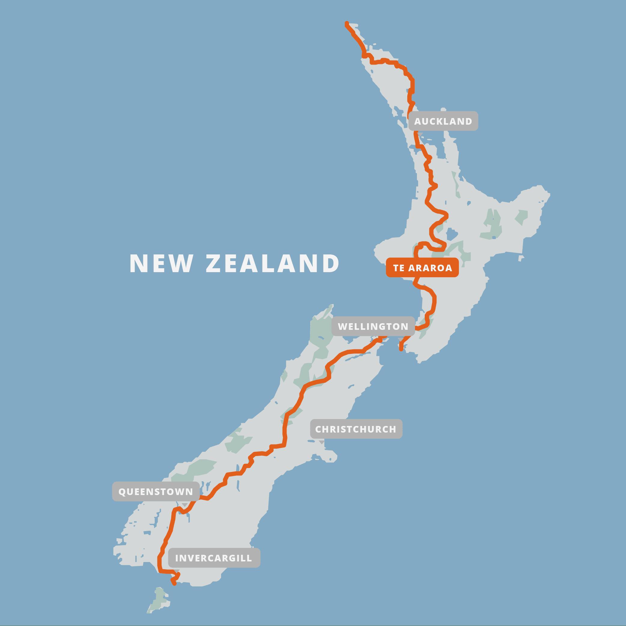 A map of the Te Araroa.