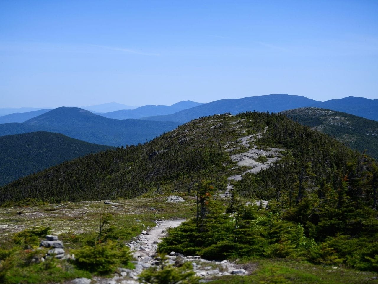A view of mountains and green hills on the Appalachian Trail.