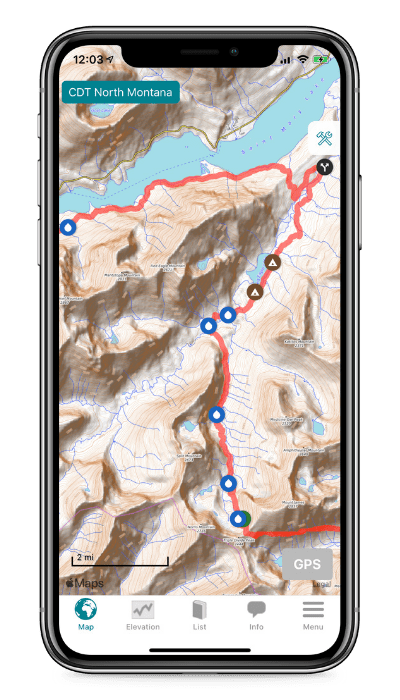 Screenshot of the Guthook Guides app showing a map with waypoints on the Contintental Divide Trail.