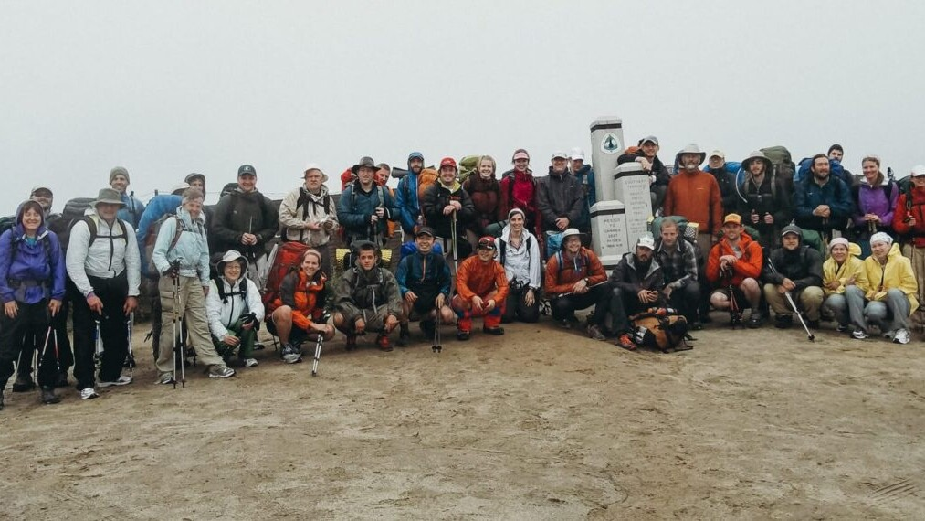 A big group of PCT thru hikers starting at the southern terminus.