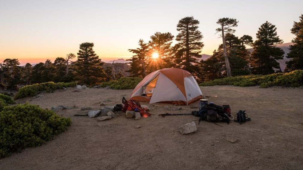a tent and gear set up