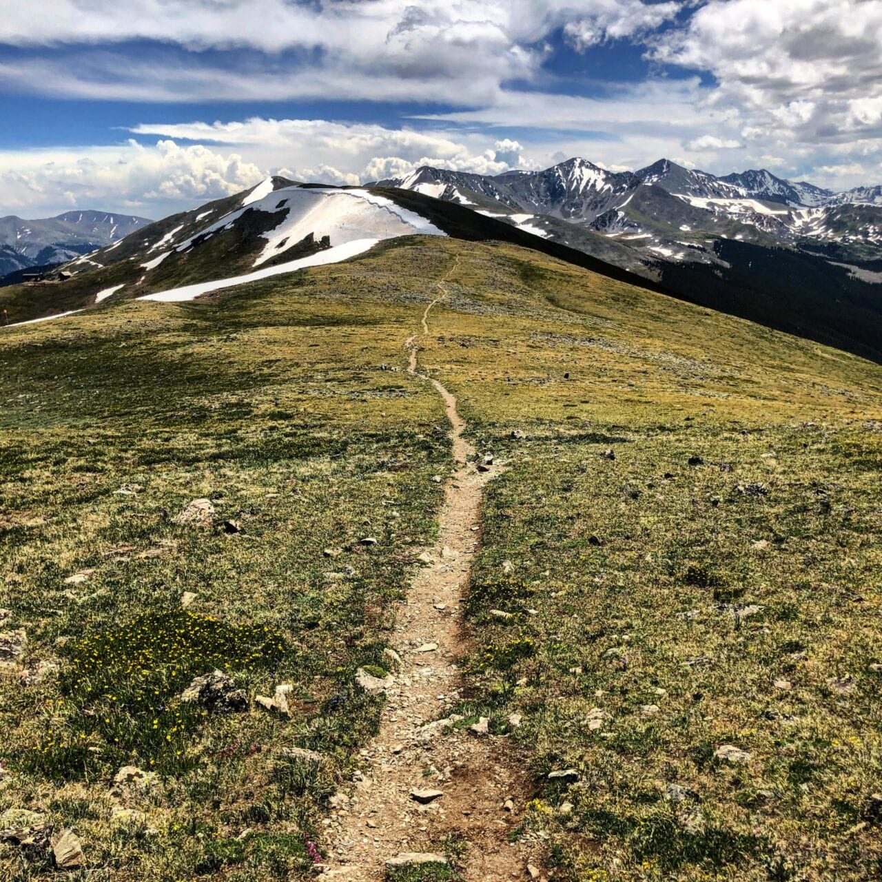 A view of a trail in the mountains.