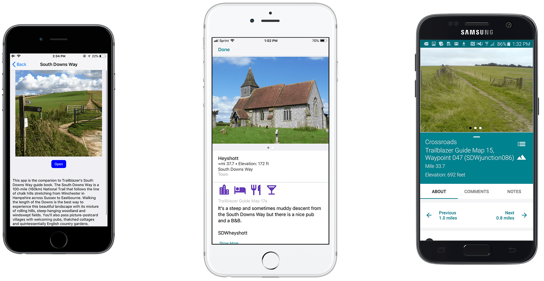 Screenshots of the Guthook Guides South Downs Way guide.