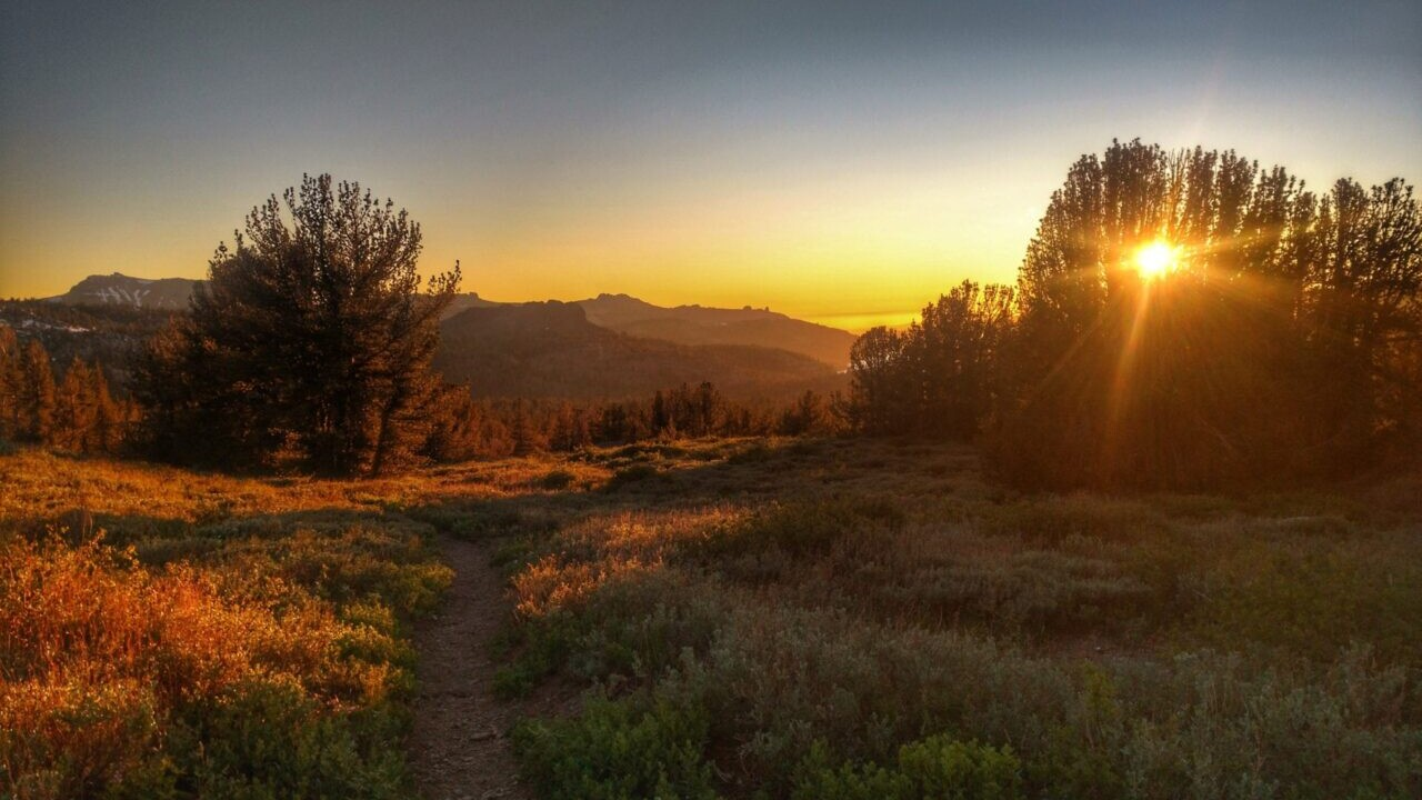 A beautiful sunset on the trail.