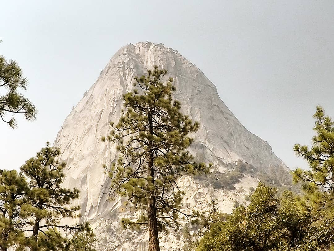 A view of a peak of a mountain.