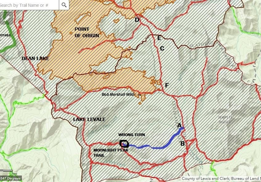 A map of a hike in the Bob Marshall Wilderness.