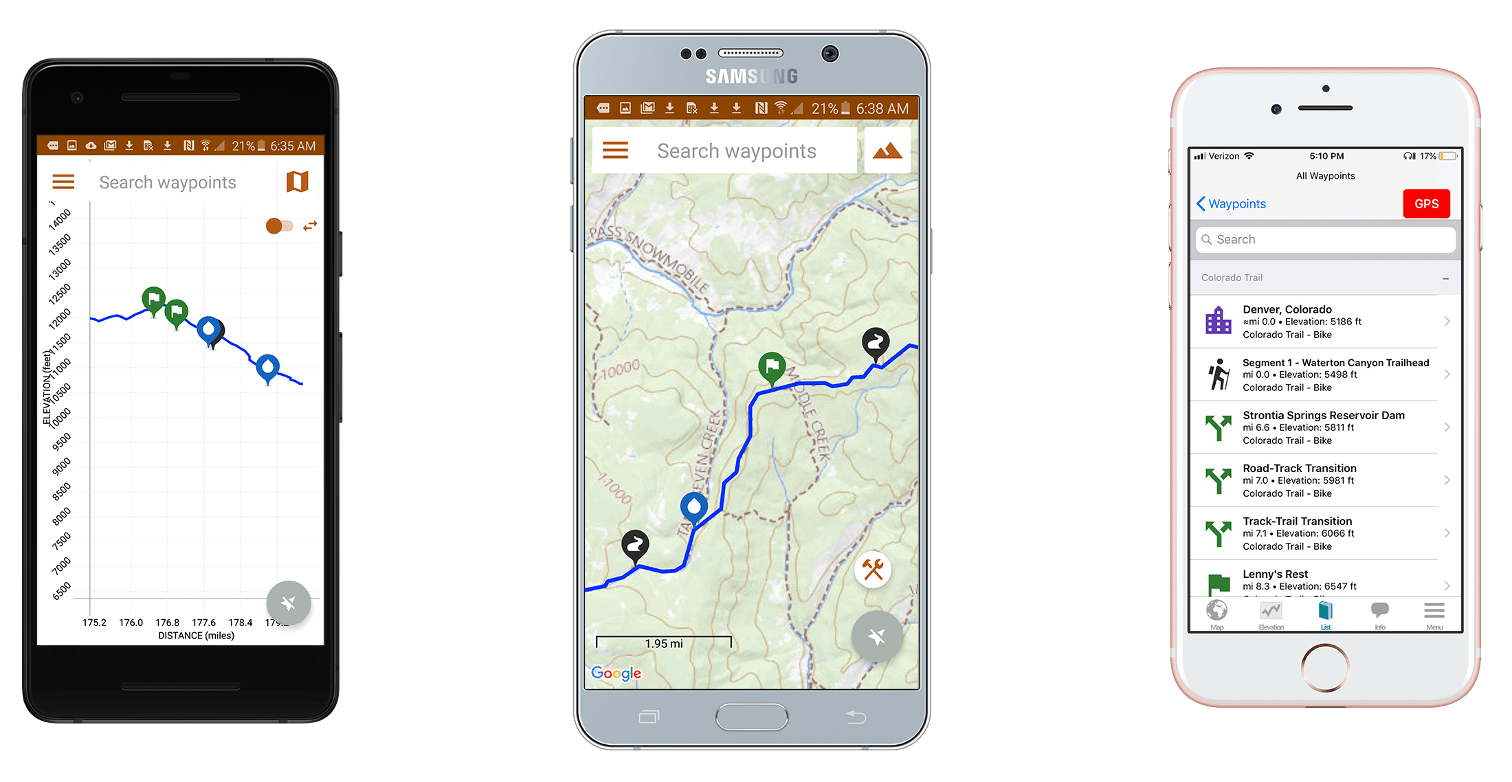 Screenshots of the Knobby Guides Colorado Trail Bike Route guide.