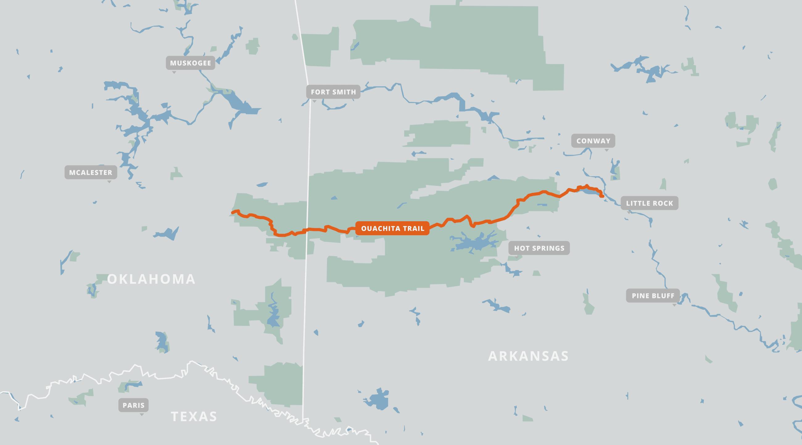 A map of the Ouachita Trail.