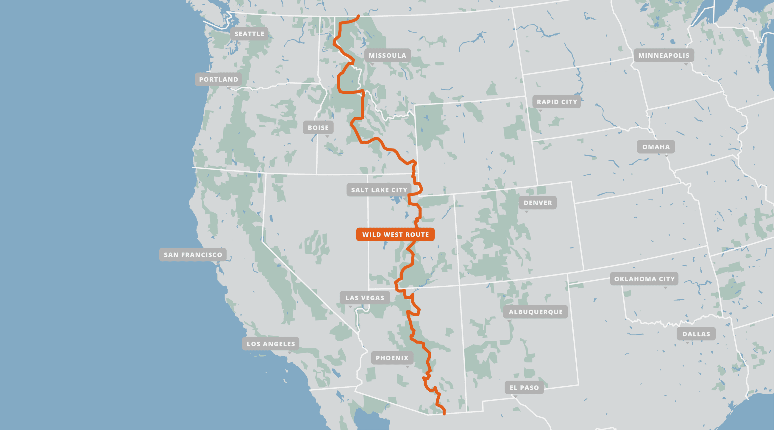 A map of the Wild West Route.
