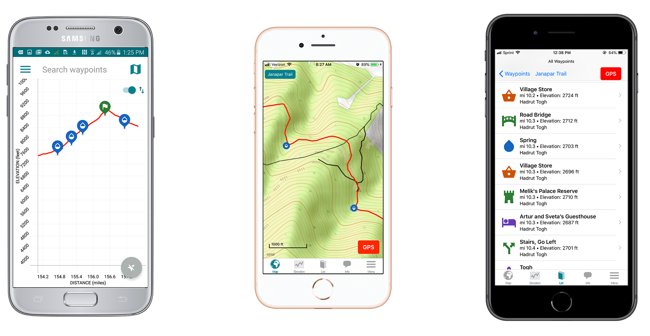 Screenshots of the Guthook Guides Janapar Trail hiking guide.