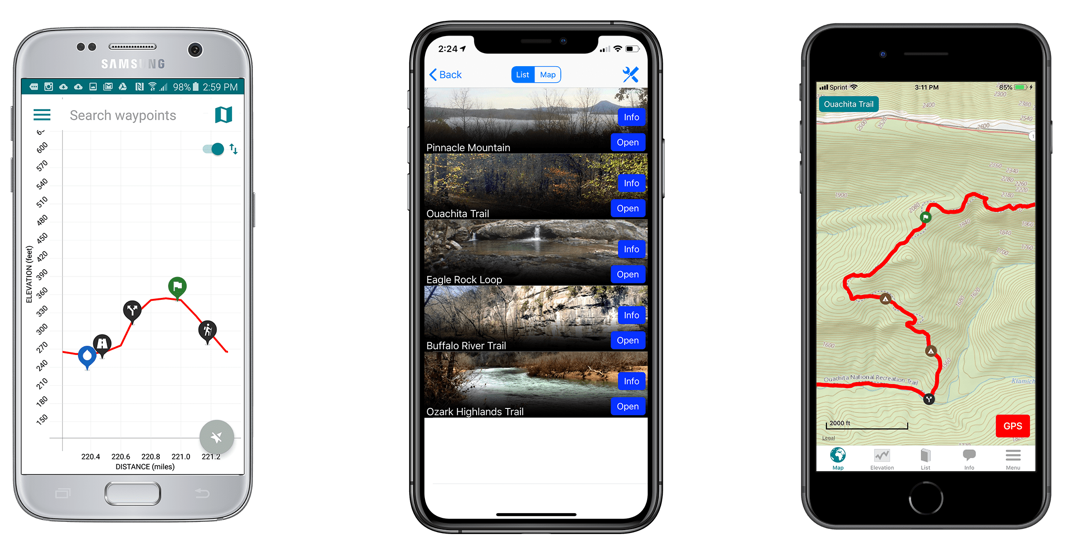Screenshots of the Guthook Guides Ouachita Trail guide.