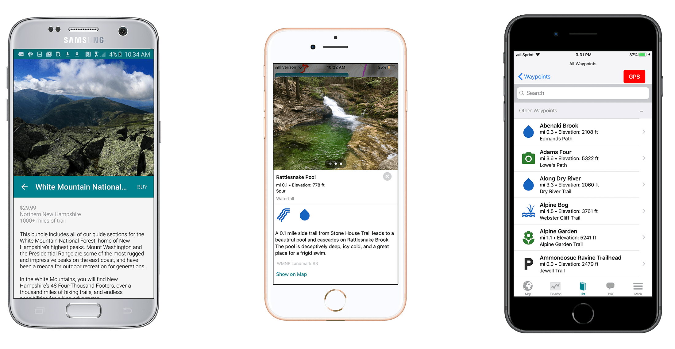 Screenshots of the Guthook Guides White Mountain National Forest guide.