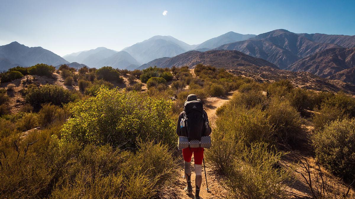 A hiker in the desert.