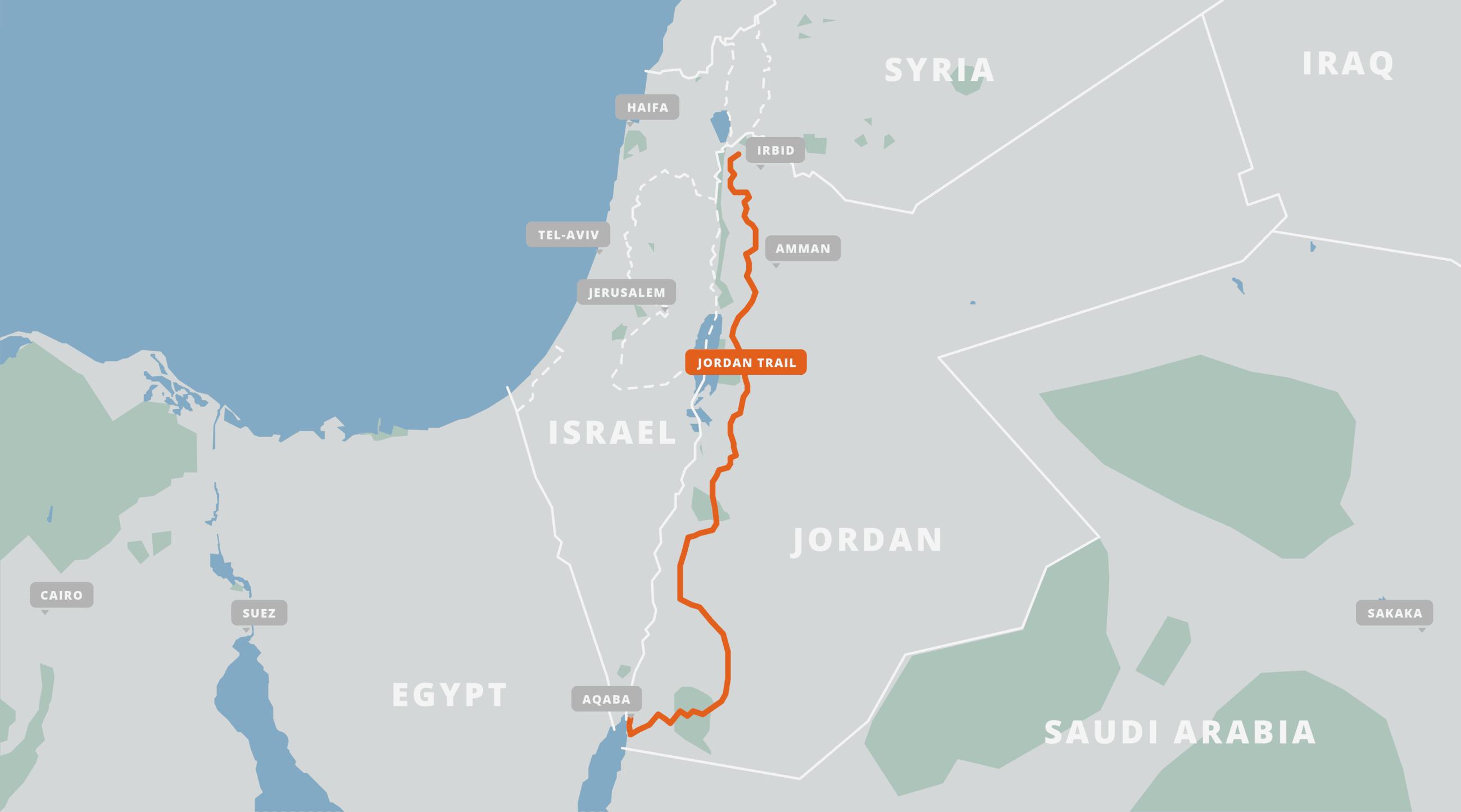 A map of the Jordan Trail.