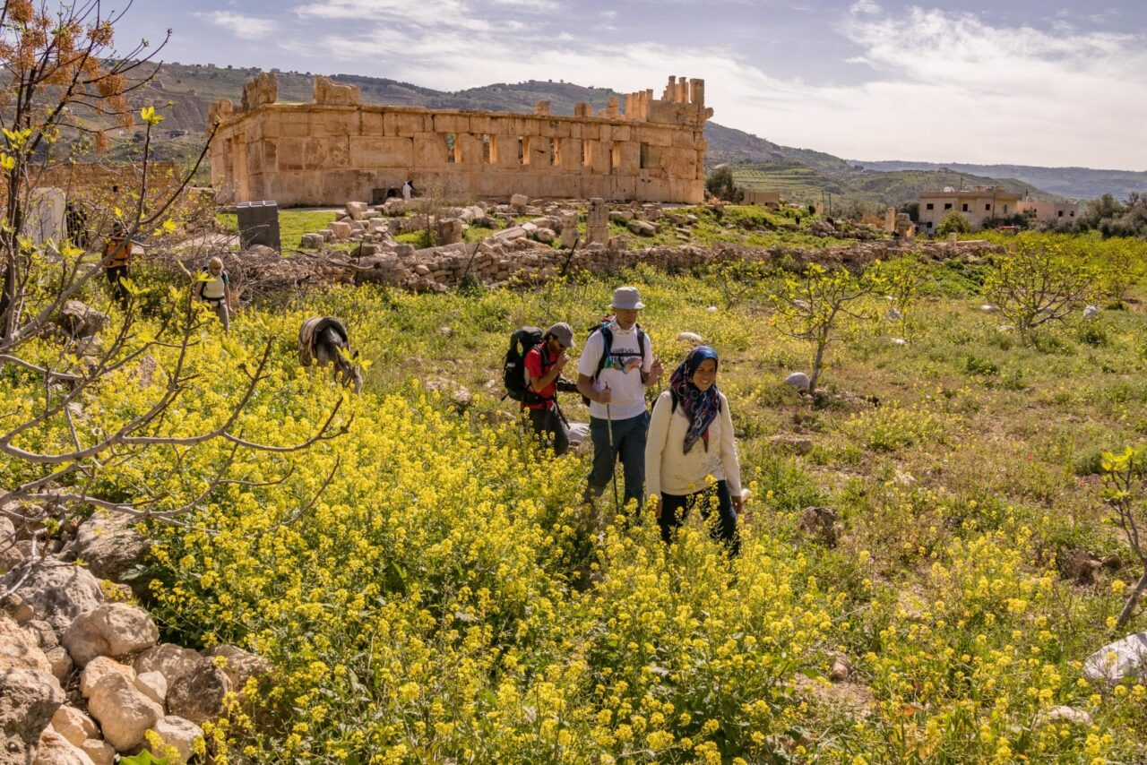 A group of hikers walk through a desert field in front of a castle.