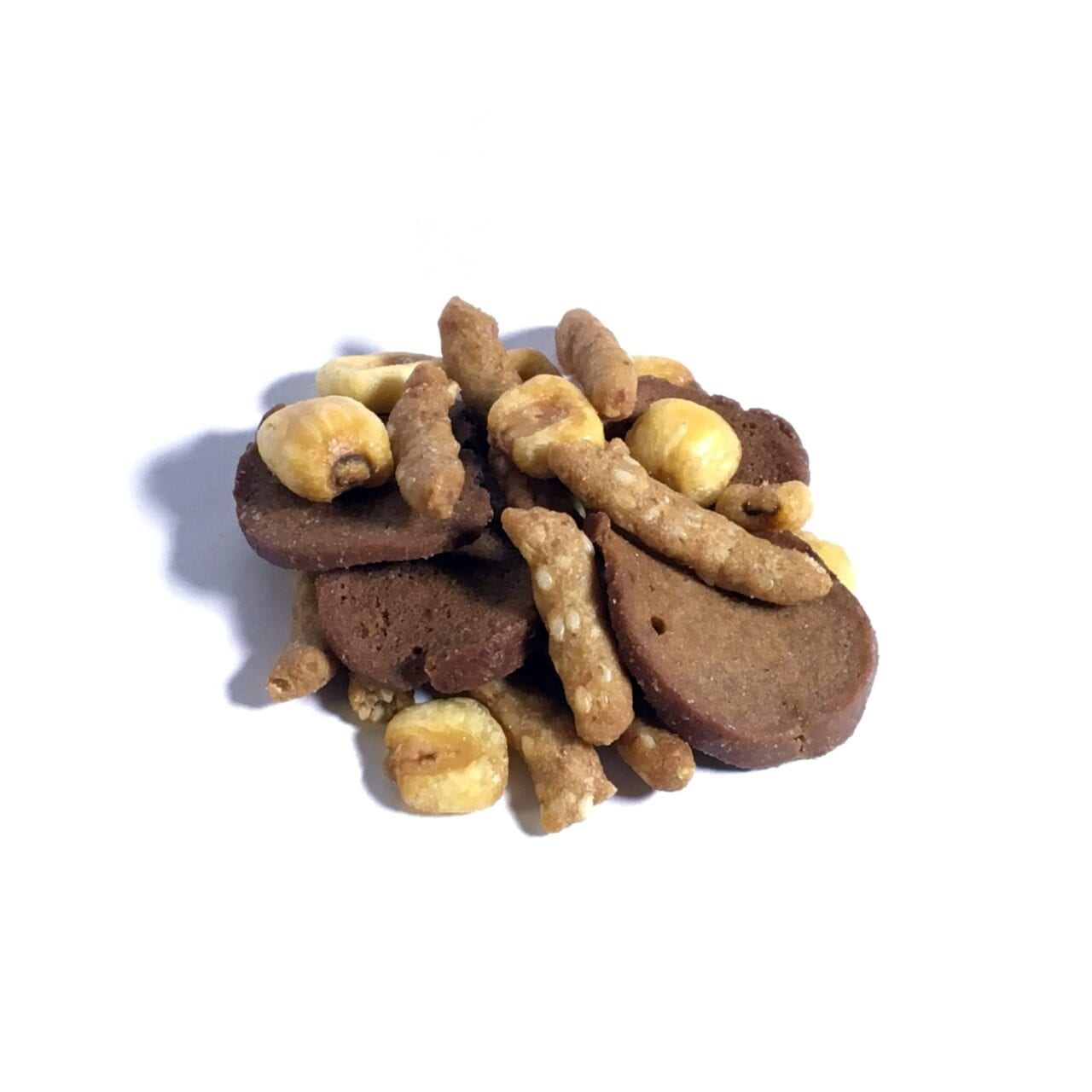 A pile of GORP trail mix including corn and chips.