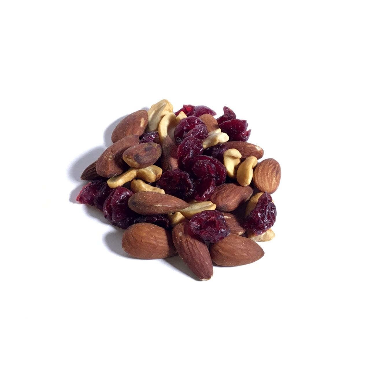 A pile of GORP trail mix including nuts and fruit.