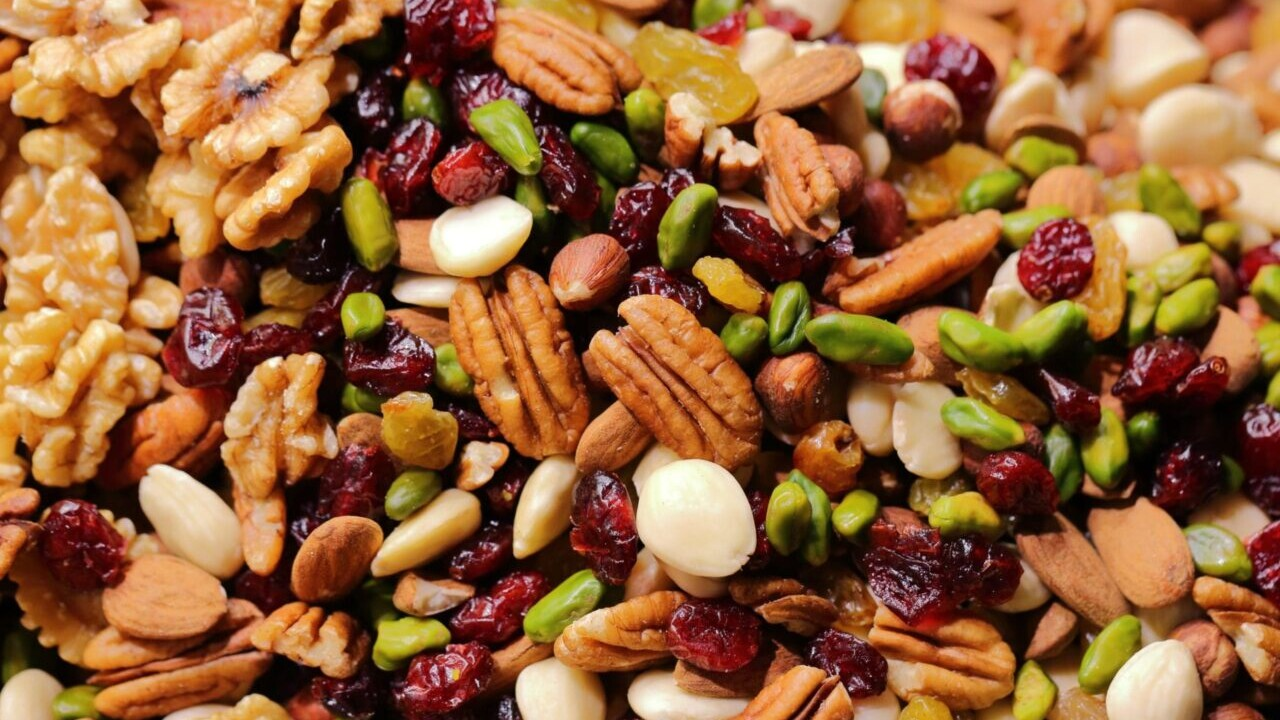 A GORP trail mix of nuts and fruit.