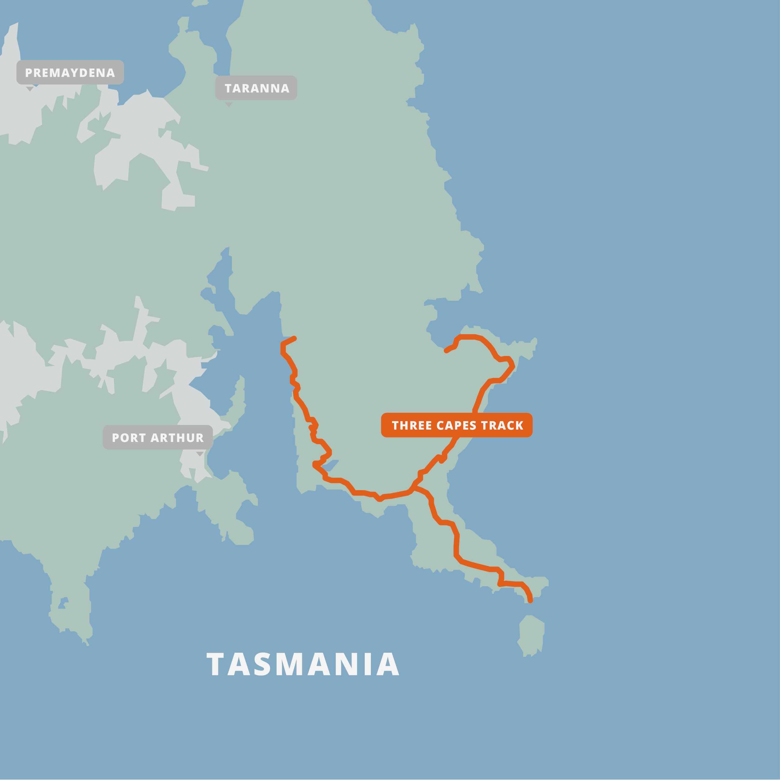 A map of the Three Capes Track.