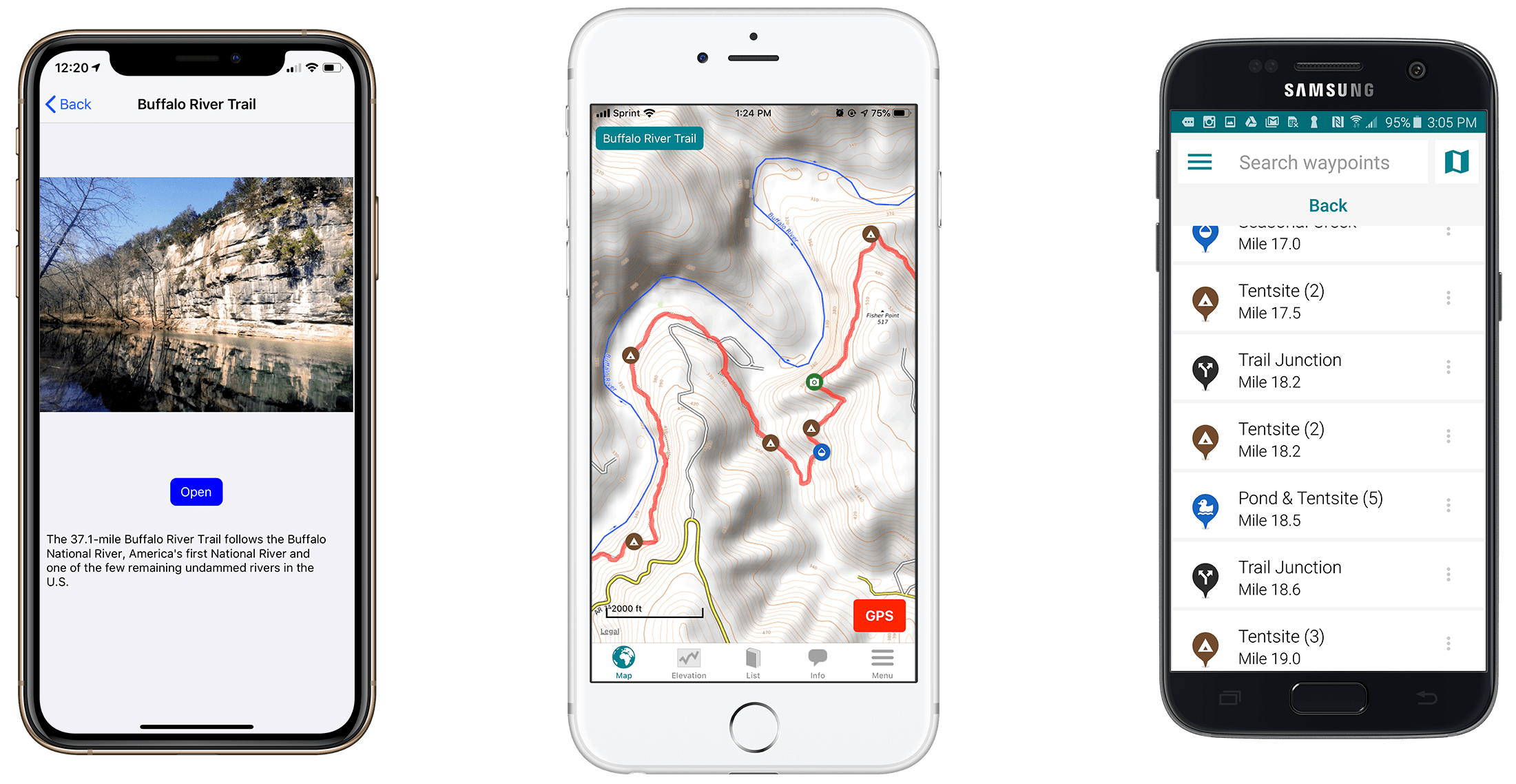 Screenshots of the Guthook Guides Buffalo River Trail guide.
