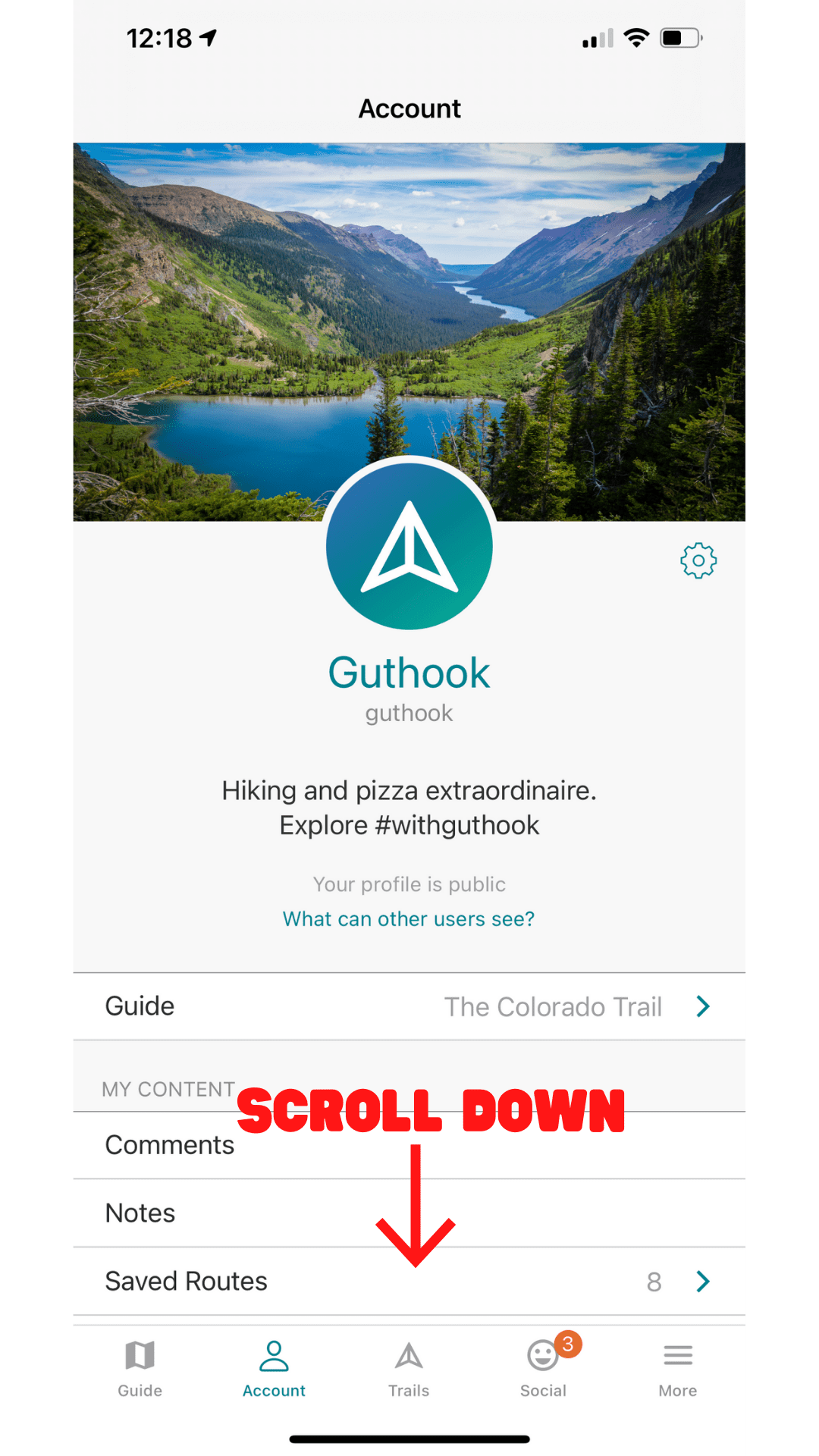 a screen shot of the Guthook Guides app