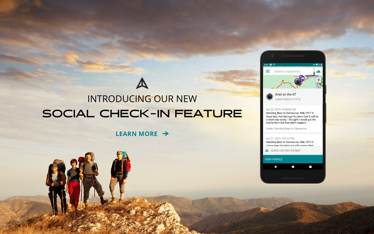 Guthook Guides check-in social feature