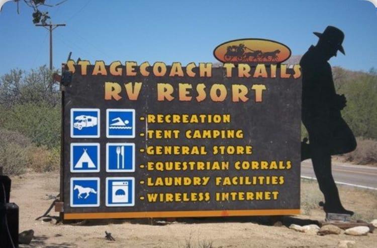Stagecoach Trails RV Resort sign