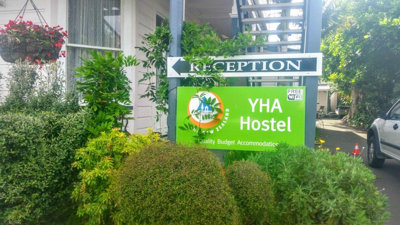 A YHA Hostel sign on the Te Araroa