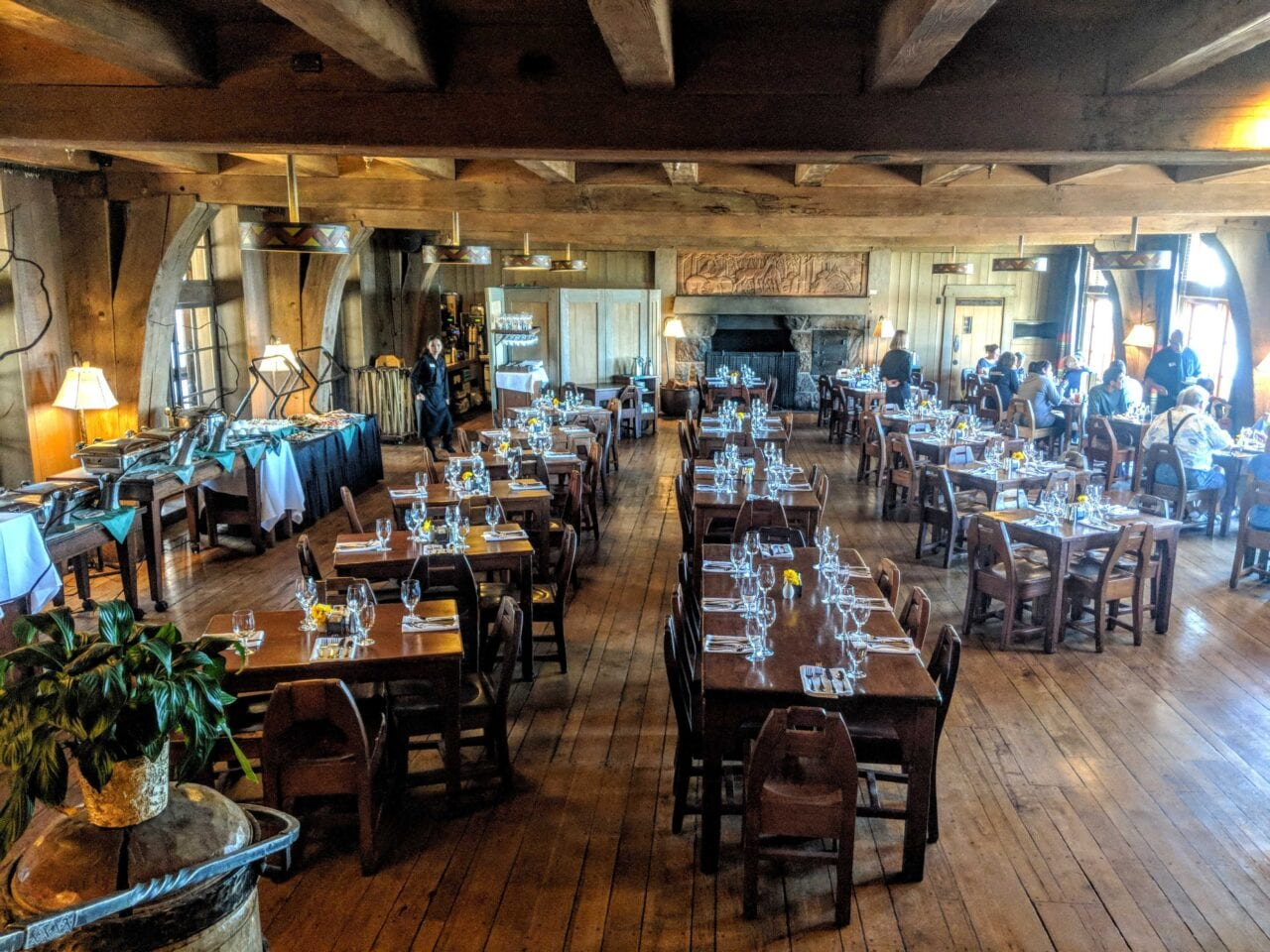The inside of the Timberline Lodge Buffet on the PCT in Oregon.