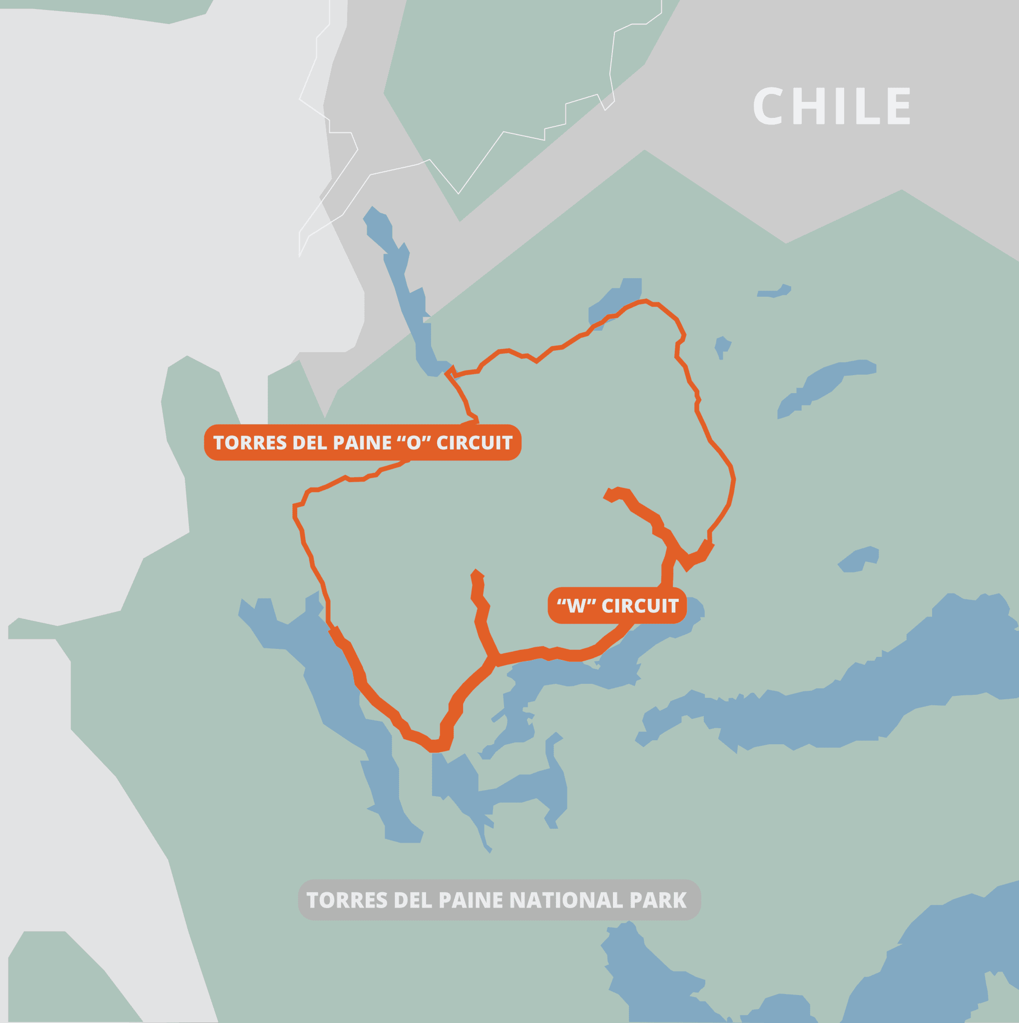 Map of Torres del Paine trail.