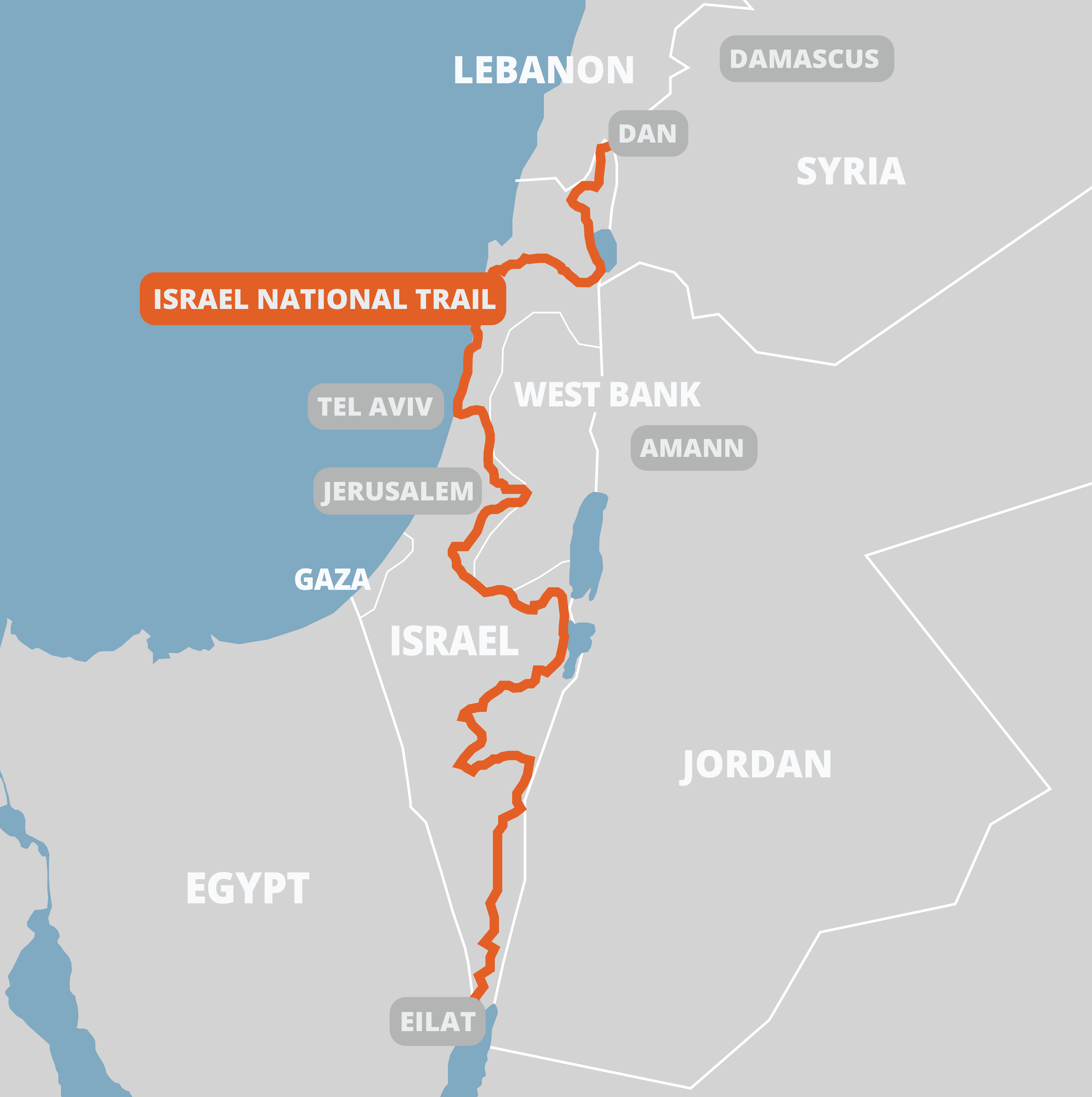 Map of the Israel National Trail and surrounding countries of Israel