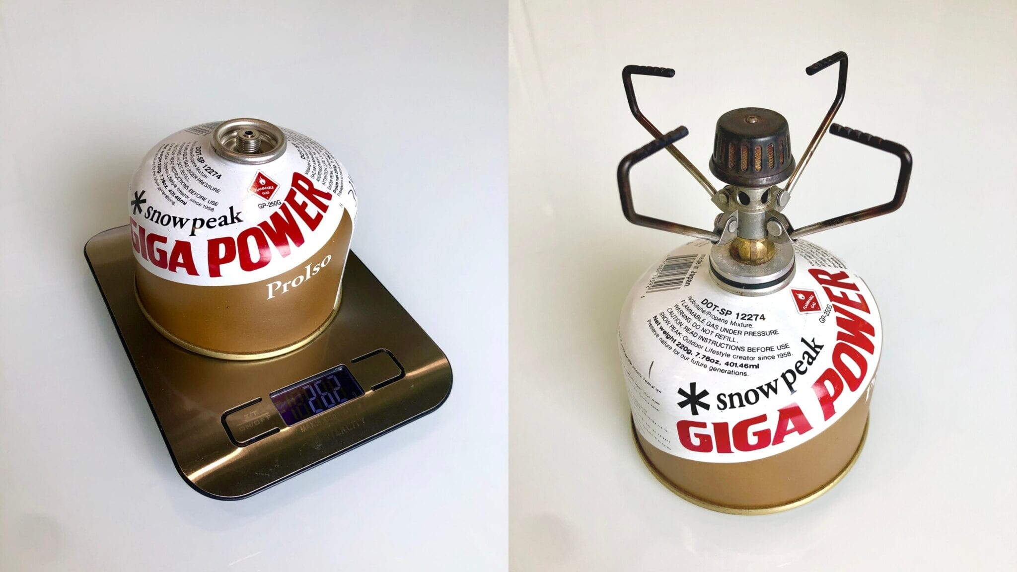 A backpacking fuel canister being weighed on a scale.