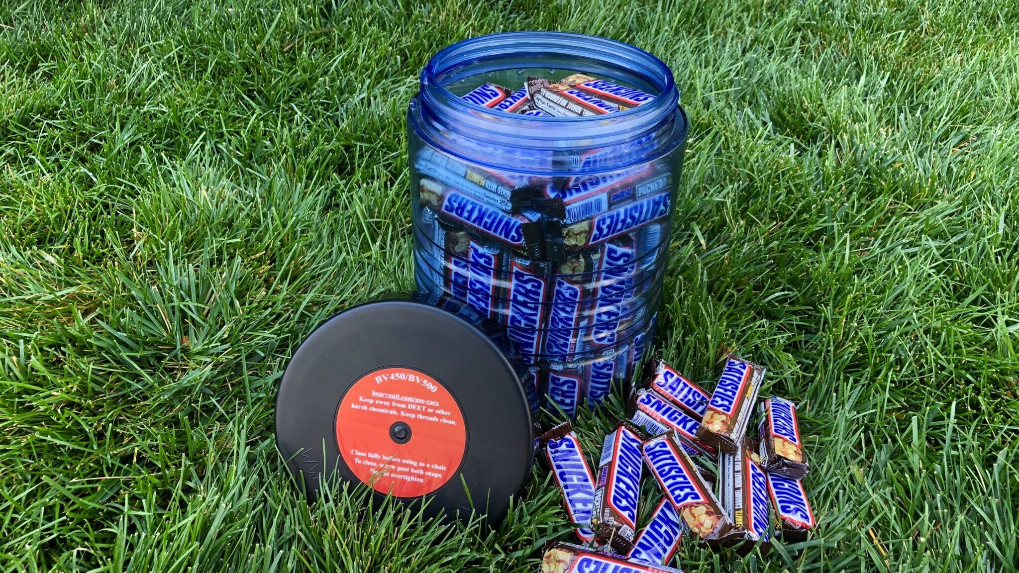 A BV500 bear canister full of snickers.