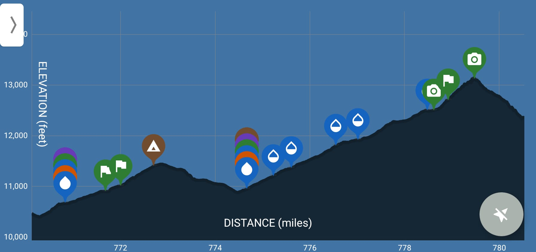 A screenshot of the pacific crest trail elevation profile in the Guthook Guides app.