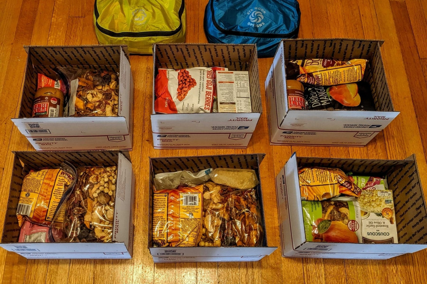 6 resupply boxes with food