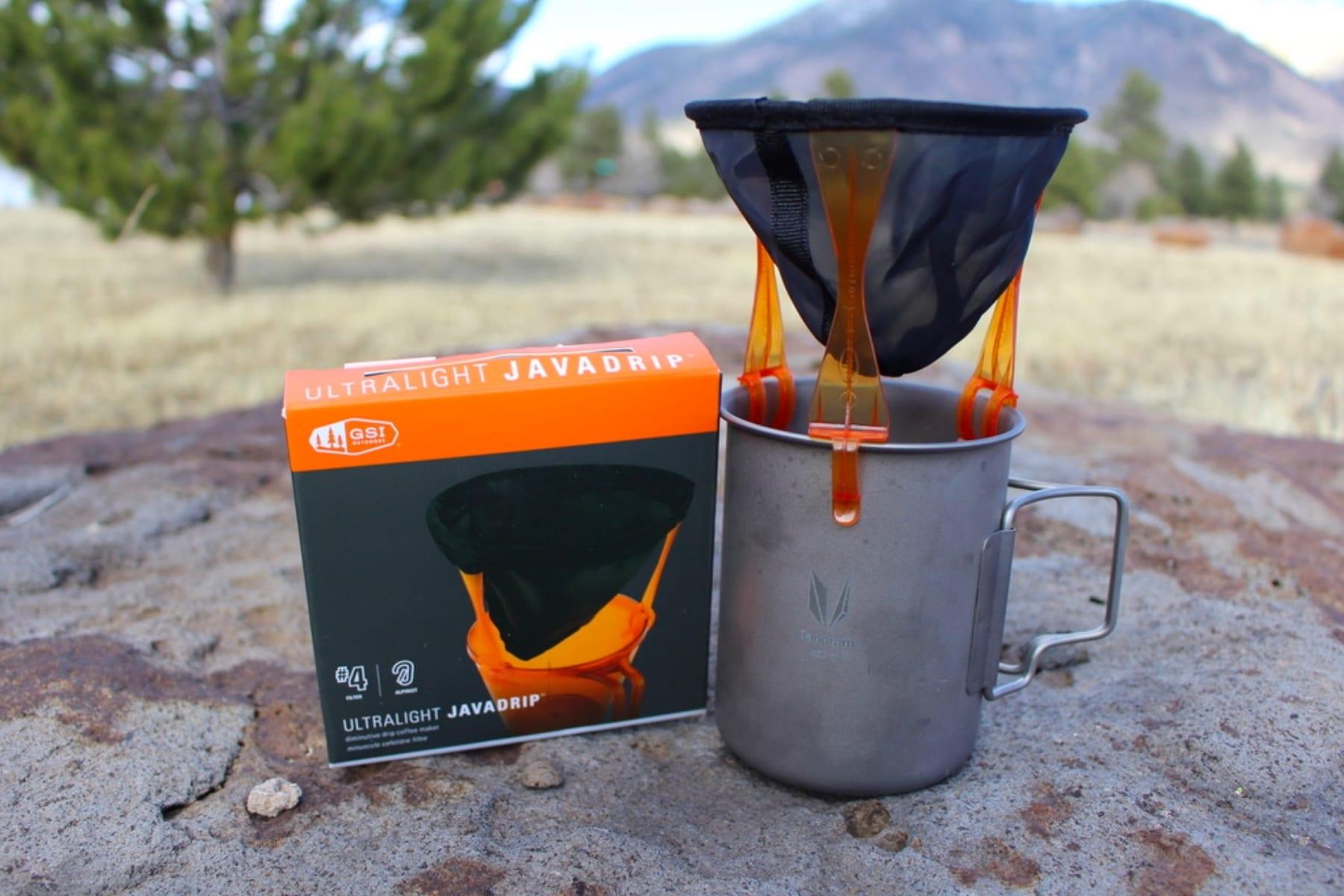 A GSI Outdoors Ultralight Java Drip coffee maker.