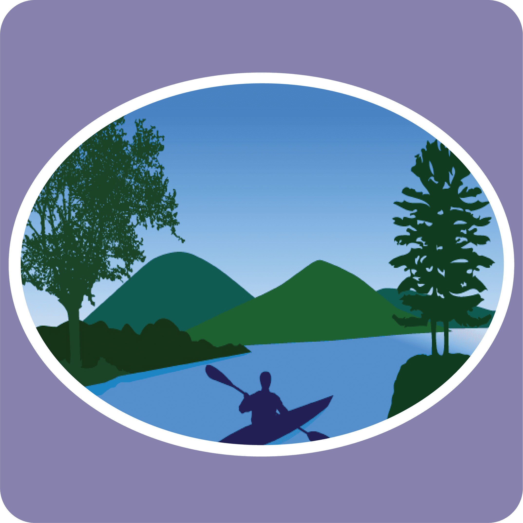 Logo of a drawn picture of a paddler on the water with green trees and mountains in the background