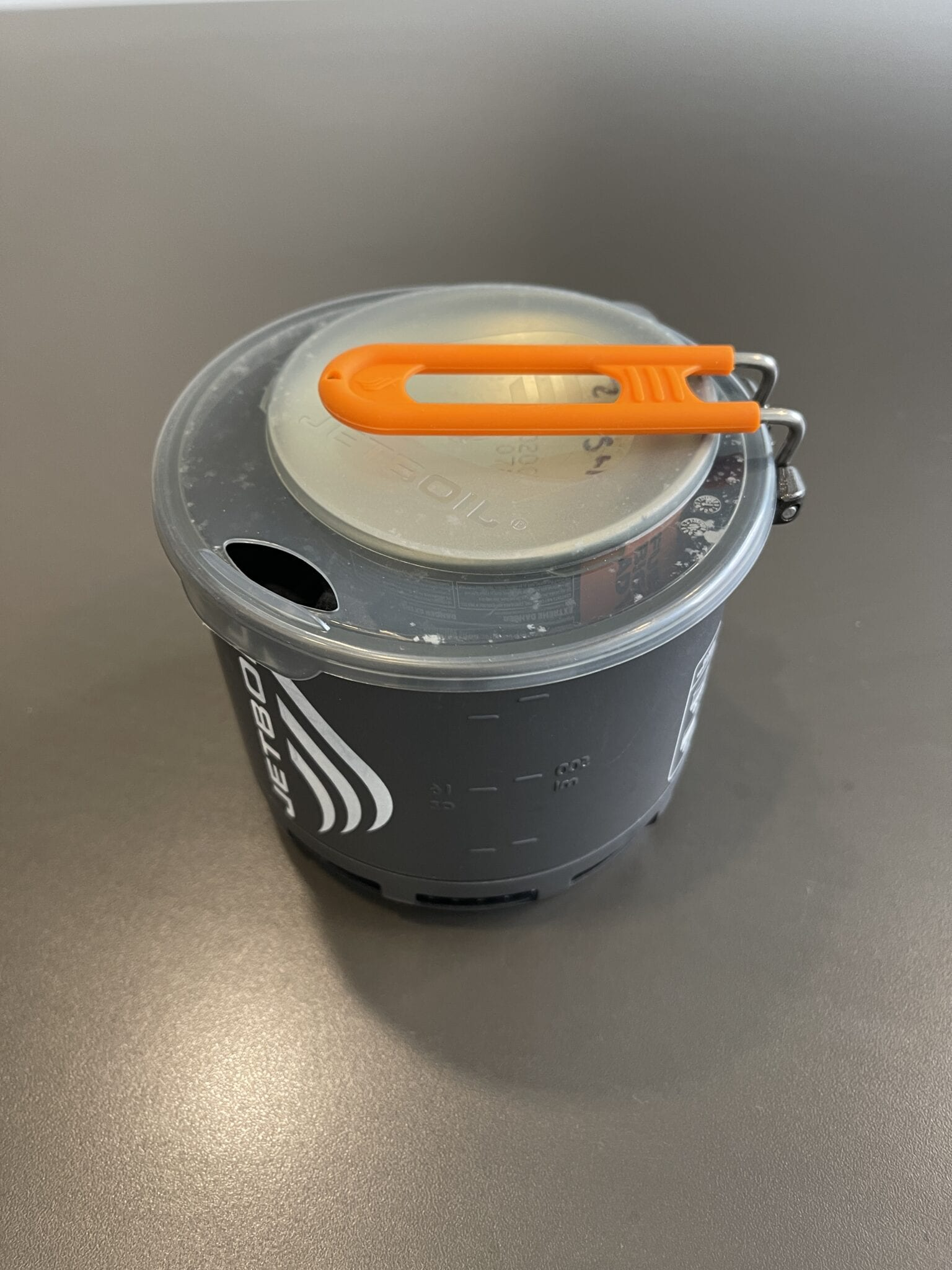 The Jetboil Stash stove system packed into the cooking pot.