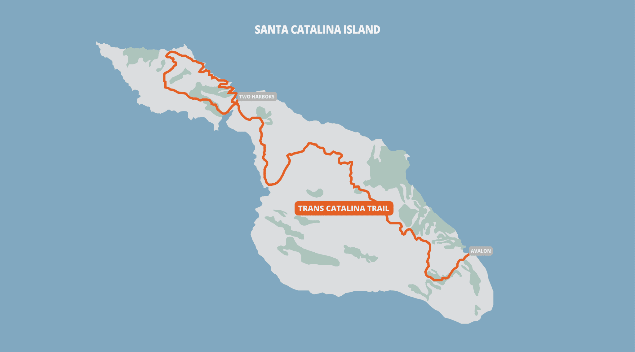 Trans Catalina Trail overlayed on a map of the Catalina Island.