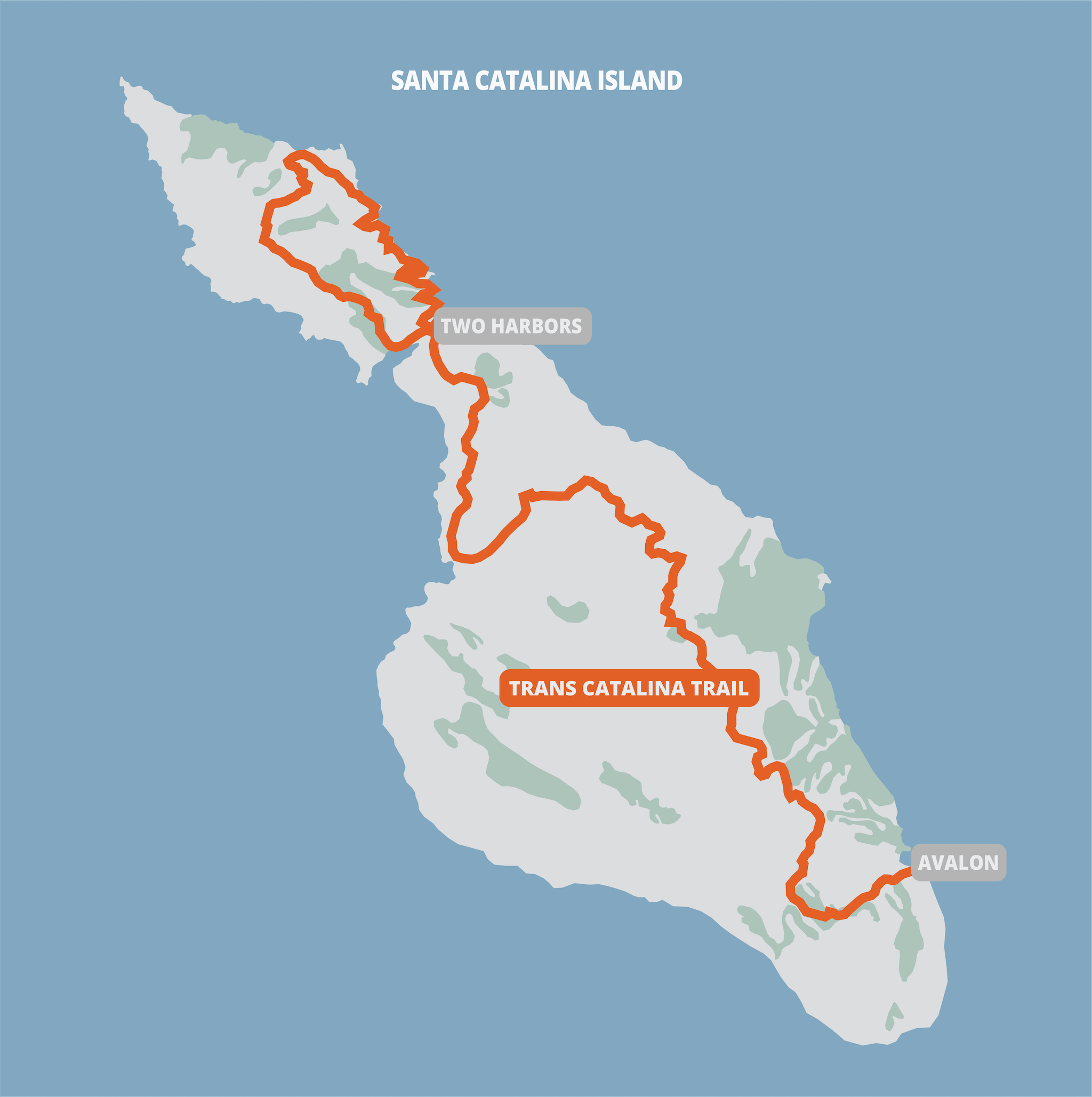 Trans Catalina Trail on a map of the Catalina Island.