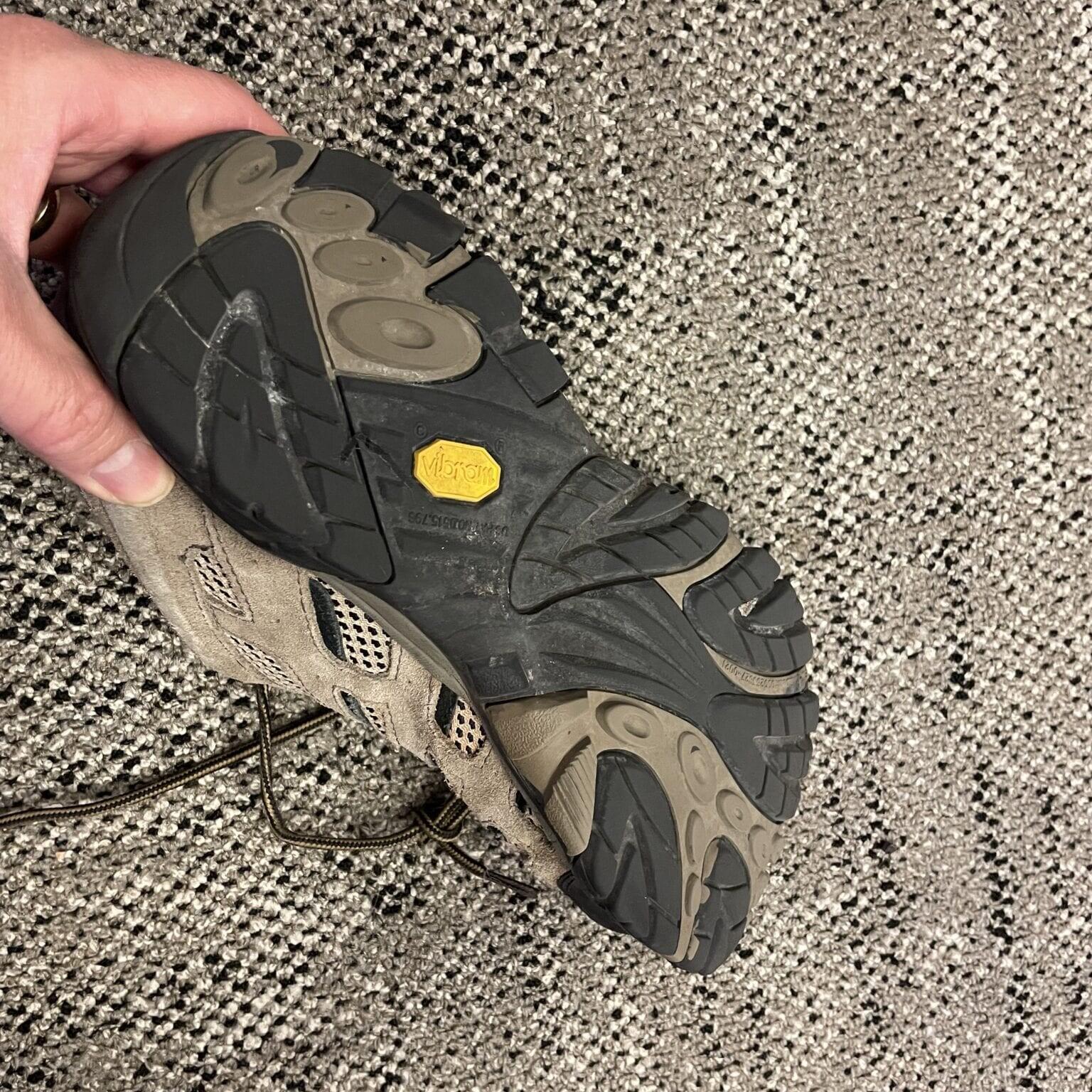the bottom of a hiking shoe