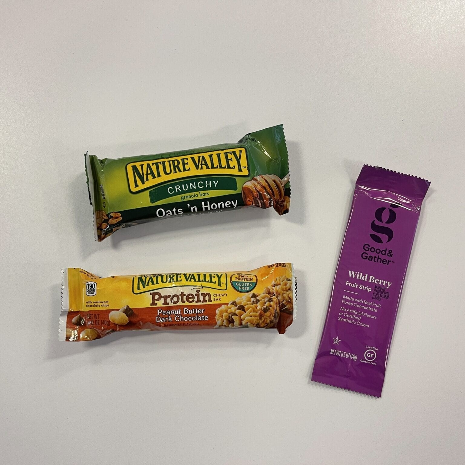 protien bars and a fruit strip