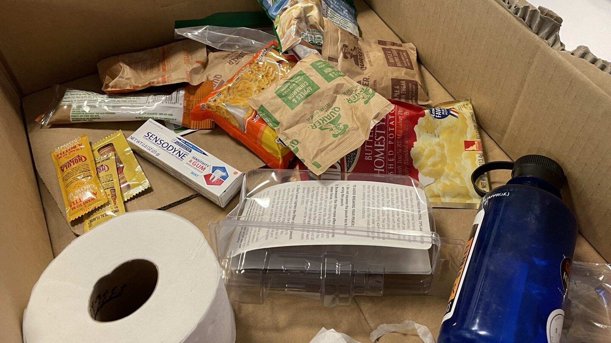 Miscellaneous items in a hiker box