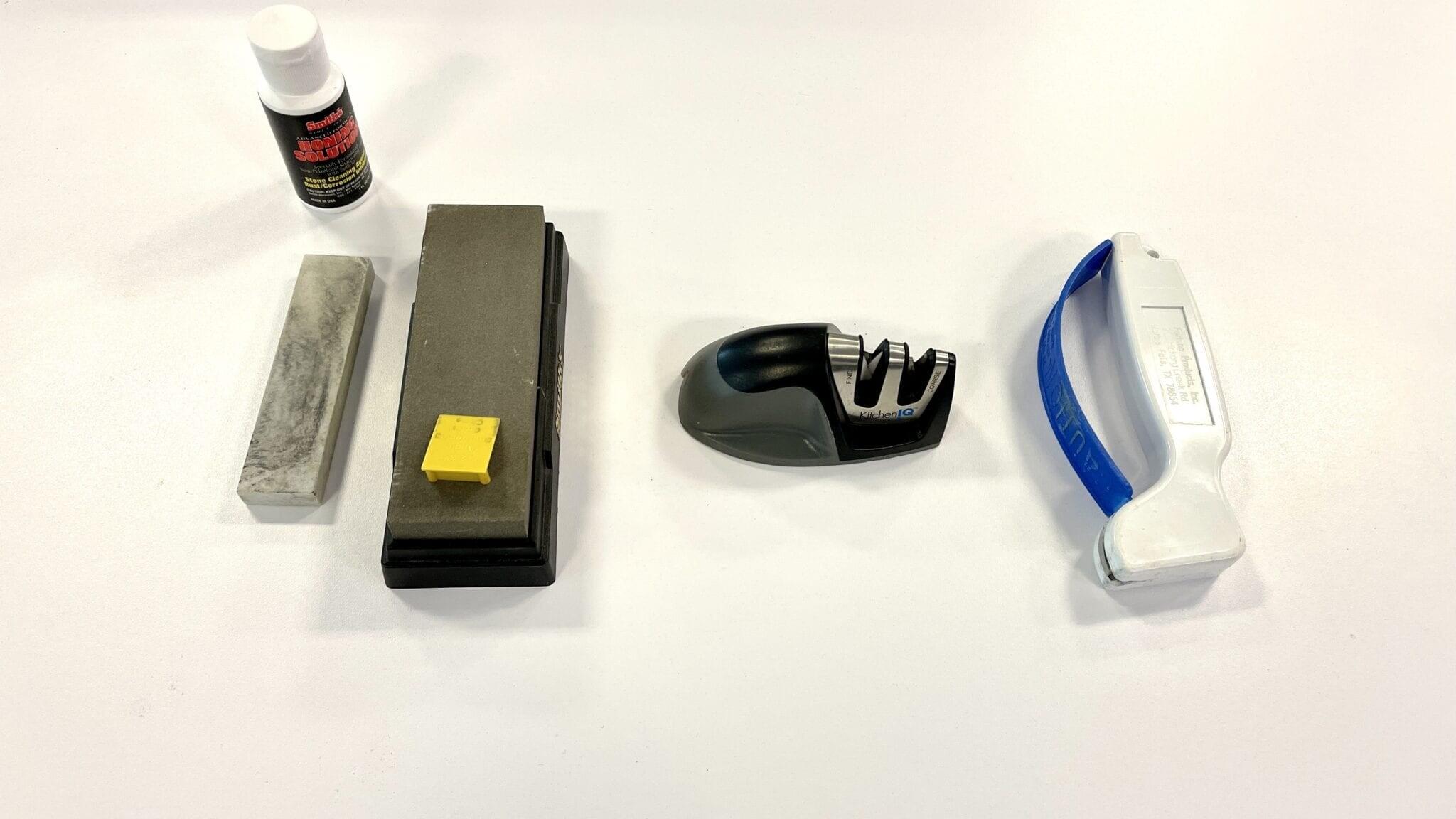 an assortment of blade sharpeners