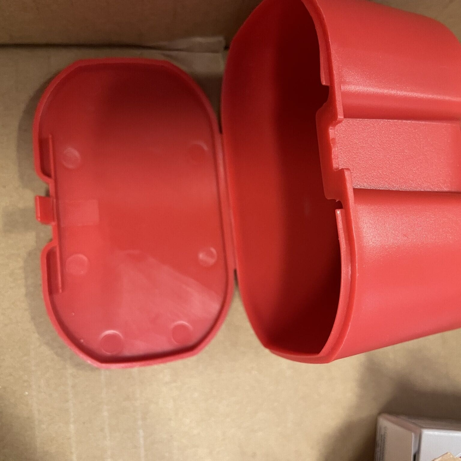 plastic tub on its side